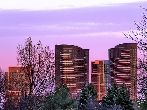 an evening view of Thornhill, Ontario
